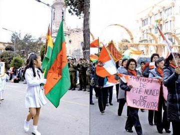 El Día de la Bandera hubo desfile y una marcha de las profesoras