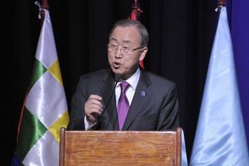 Ban Ki-Moon visita Vila Vila, entrega un coliseo con Evo y promete erradicar la pobreza