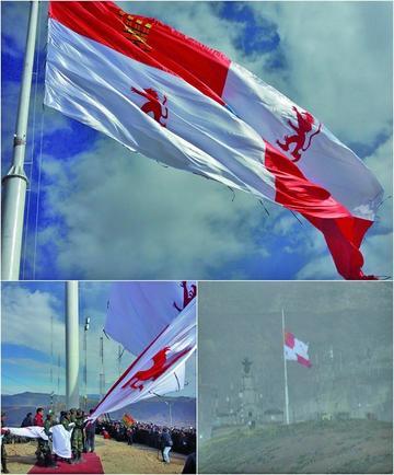Gigantesca bandera de Potosí flamea en lo alto del cerro rico