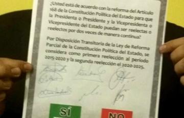 TSE presenta papeleta para el referéndum 2016 sobre la reelección presidencial