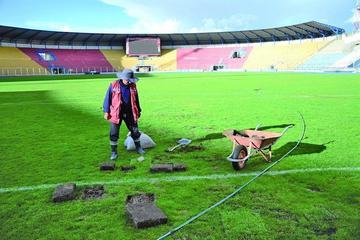 Realizan mantenimiento en el granado del estadio