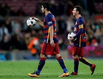 Suárez y Messi lideran goleada del Barza