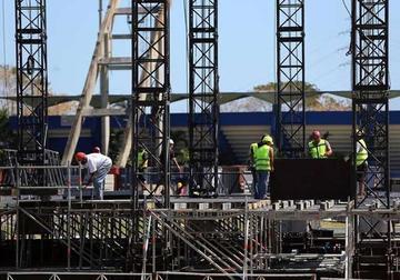 Ya instalan escenario donde actuará The Rolling Stones