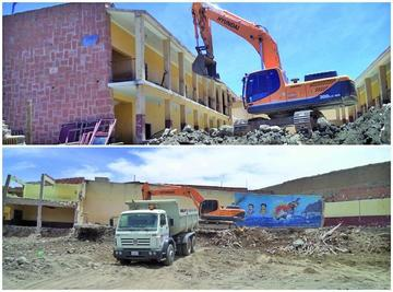Continúa la demolición total de la Unidad Educativa Litoral