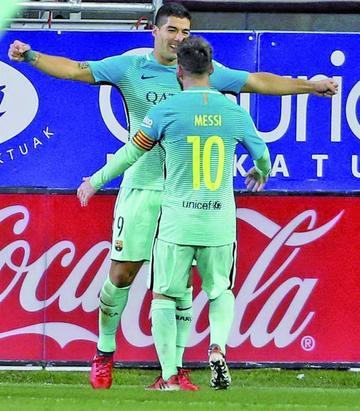 Suárez y Messi ponen tierra de por medio con Cristiano