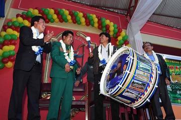 Morales inaugura radio Santa Cecilia  de la Federación de Bandas en Oruro