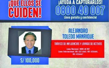 Perú ofrece recompensa para encontrar a Alejandro Toledo