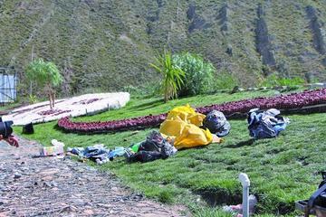 Malos vecinos echan basura a jardineras de la Panamericana