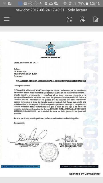 Clubes piden reunión para tratar el tema Calero