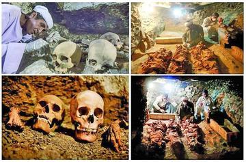 Dan con una tumba antigua en Egipto