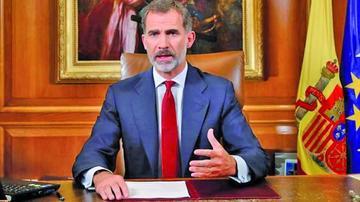Rey de España pide a los poderes del Estado que aseguren el orden