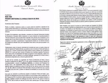 Opositores bolivianos piden a Temer hablar de democracia con Evo
