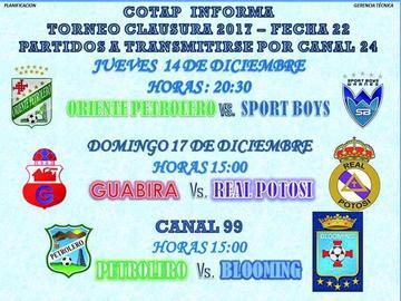 Cotap Cable TV trasmitirá en directo  el duelo entre Guabirá y Real Potosí