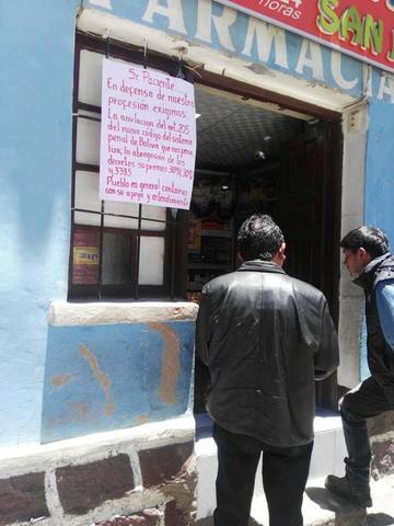 Madura cierre de farmacias en toda la ciudad de Potosí