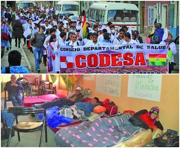 Sector salud refuerza piquetes de huelga de hambre tras bajas