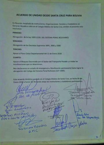 Firman pacto de unidad de Santa Cruz para Bolivia