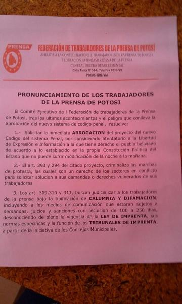 Prensa potosina se declara en estado de emergencia