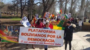 Bolivianos en Madrid exigen el respeto al voto del 21F