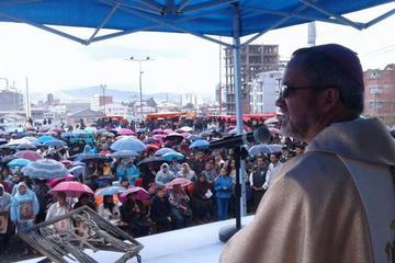 Se cumple misa y procesión por la Virgen del Socavón