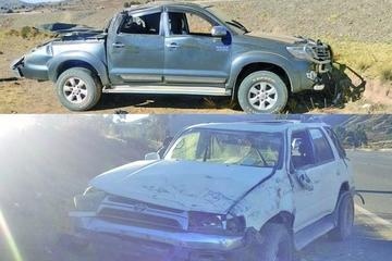 Cuatro personas resultan heridas en vuelco de autos