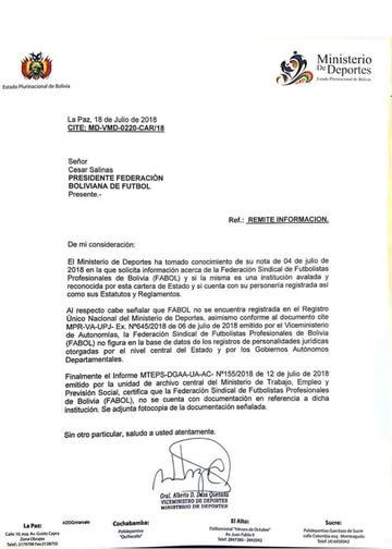 Ministerio de Deportes informa que Fabol no está registrada
