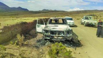 Investigan la emboscada y quema de autos de la Felcn