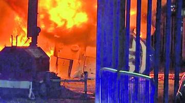 Helicóptero se incendia fuera de estadio