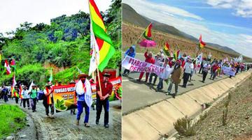 Marcha en defensa del 21F sigue rumbo a La Paz desde el Tolar
