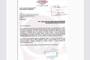 YPFB pide a su personal sus cuentas de redes sociales