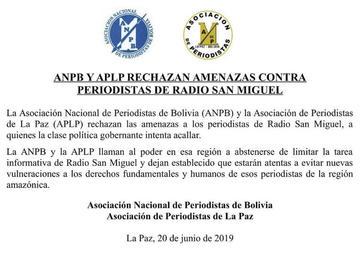 ANP y APLP rechazan las amenazas en contra de Radio San Miguel