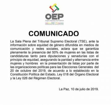 El TSE garantiza la paridad en las listas de candidatos
