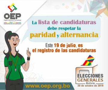 Las candidaturas deben presentar 11 requisitos este 19 de julio