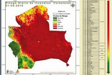 Cerca del 70 % de Santa Cruz está en riesgo de incendios forestales
