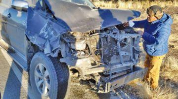 Chofer destrozó su vehículo tras chocar contra una vaca