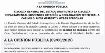 Instruyen suspender la citación a declaración testifical a Carlos Mesa