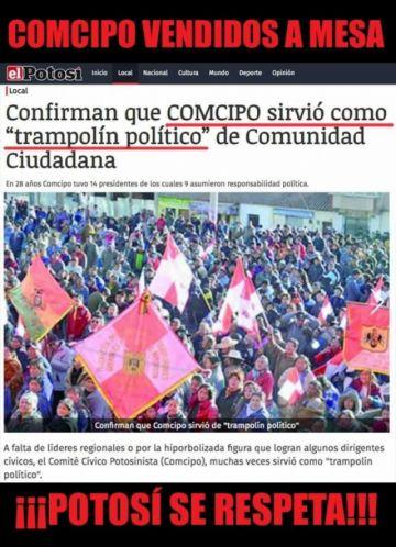 MAS divulga noticia falsa que involucra a El Potosí