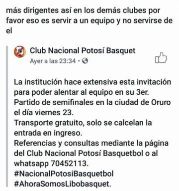 Nacional Potosí llevará gratis a hinchas a Oruro para el partido de la Libo