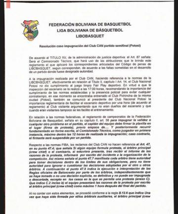 FBB falla a favor de Nacional Potosí