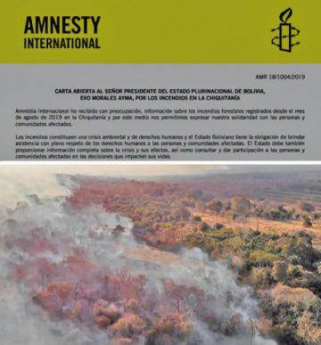Amnistía pide a Evo suspender decreto que permite quemas