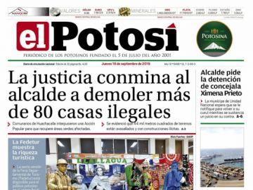 La crisis municipal es el tema prevalente en la tapa de El Potosí