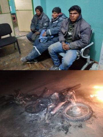 Caen tres cazadores de vicuñas y arden motos