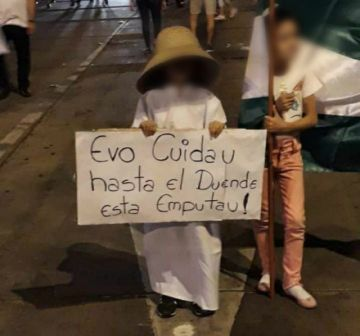 Imagen de niño con un cartel contra Evo en el cabildo circula por las redes sociales