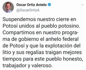 Óscar Ortiz suspende su cierre de campaña en Potosí