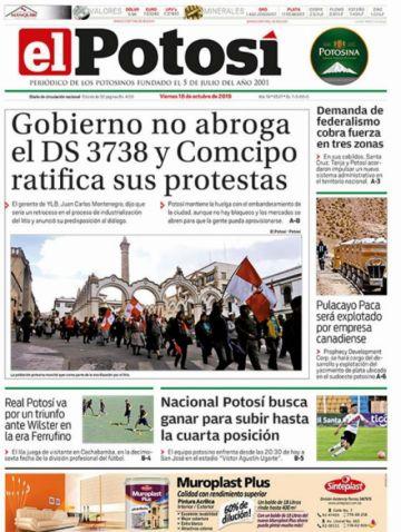 Revise las tapas de los periódicos del país