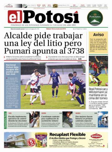 Repase las portadas de los diarios de Bolivia