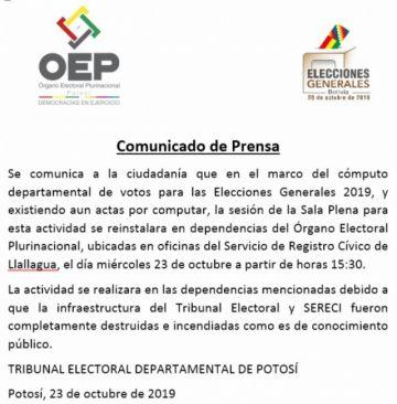 URGENTE: Tribunal electoral se lleva el cómputo departamental a Llallagua