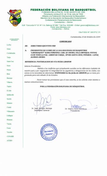 Se suspende la cuarta fecha de la Libo femenina