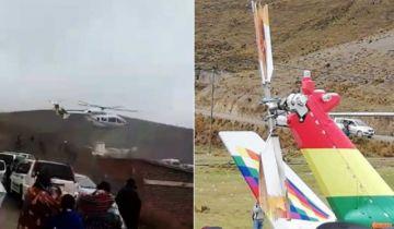 Helicóptero que trasladaba a Evo Morales sufre contingencia al despegar