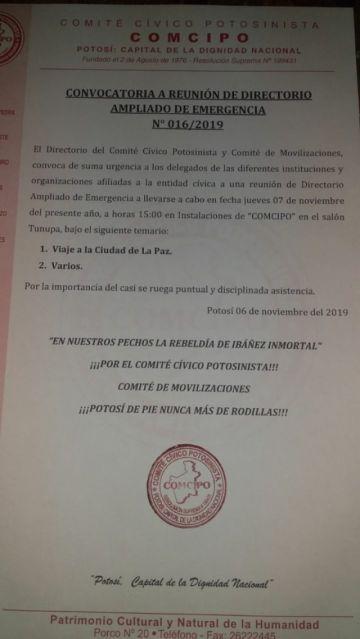 Comcipo planificará viaje a La Paz con las instituciones