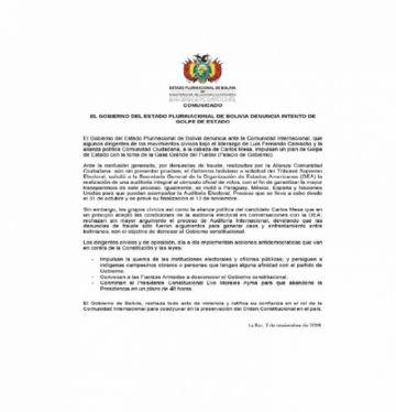 El Gobierno denuncia a la comunidad internacional sobre un golpe de Estado